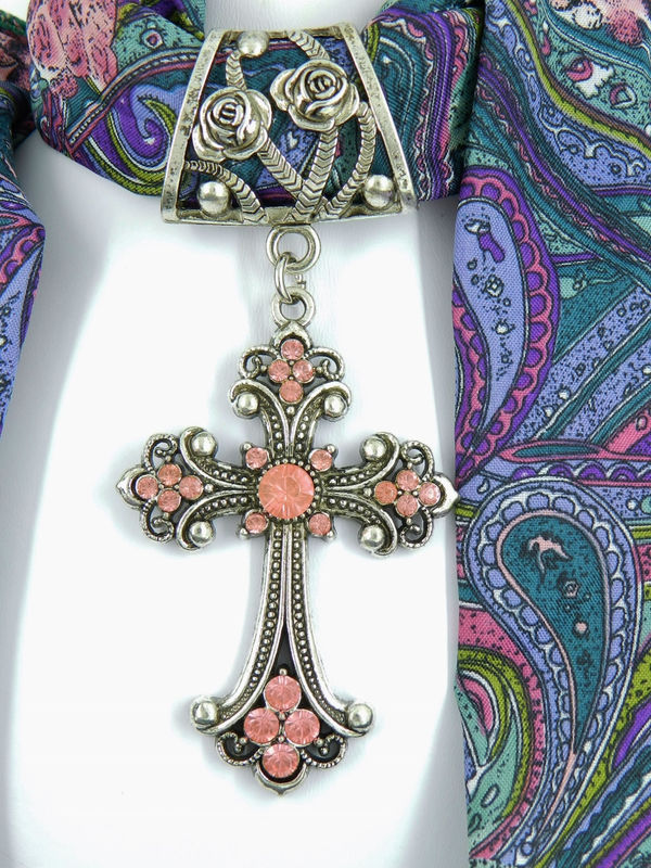 Scarf Slide with Pink Rhinestone Cross, Scarf Jewelry, Accessory - product images  of