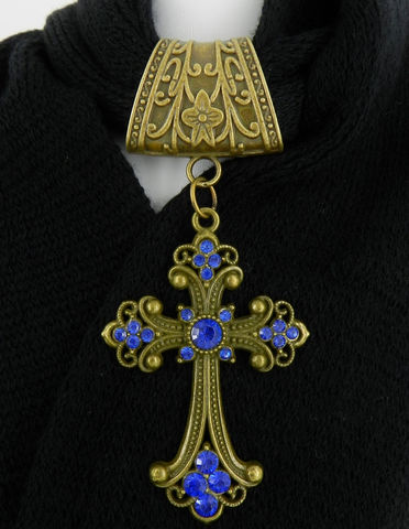 Blue,Cross,Scarf,Pendant,in,Antique,Brass,~,Jewelry,Accessory~,Charm,Slide,scarf_charm,scarf_accessory,scarf_pendant,scarf_jewelry,crystal_cross,rhinestone_cross,cross_pendant,scarf_slide,scarf_bling,religious_jewelry,antique_brass,cobalt_blue,blue_crystal,antique brass Art Nouveau style bail,Cobalt blue crystal cross