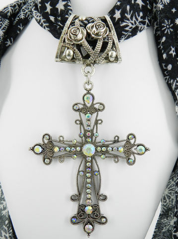 Religious,Scarf,Jewelry,~,Large,Rhinestone,Cross,Pendant,scarf_charm,scarf_accessory,scarf_pendant,scarf_jewelry,crystal_cross,rhinestone_cross,cross_pendant,scarf_slide,scarf_bling,religious_jewelry,rose_bail,antique_silver,aurora_borealis,rose design bail,large AB crystal cross