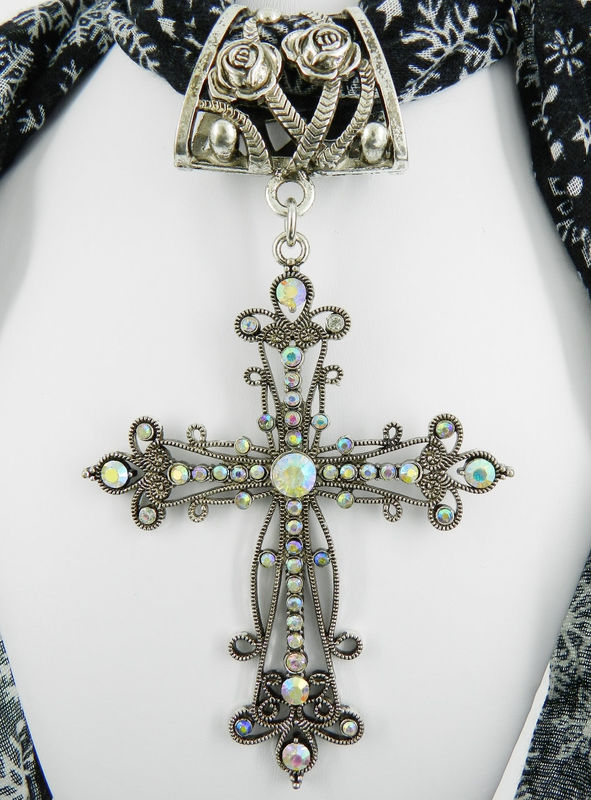 Religious Scarf Jewelry ~ Large Rhinestone Cross ~ Scarf Pendant  - product images  of