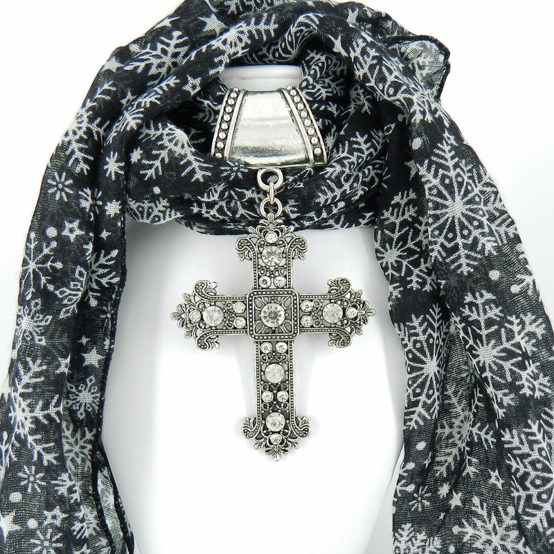 Scarf Slide with Large Cross, Scarf Jewelry, Scarf Pendant - product images  of