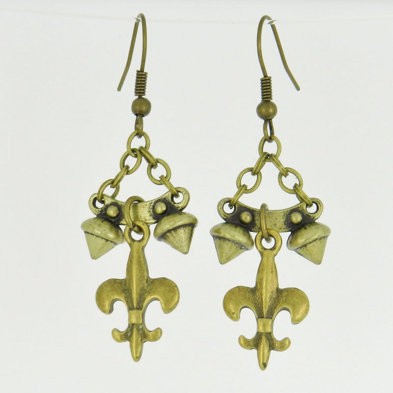 Spike Earrings, Fleur-de-Lis Jewelry, Bronze Metal - product images  of