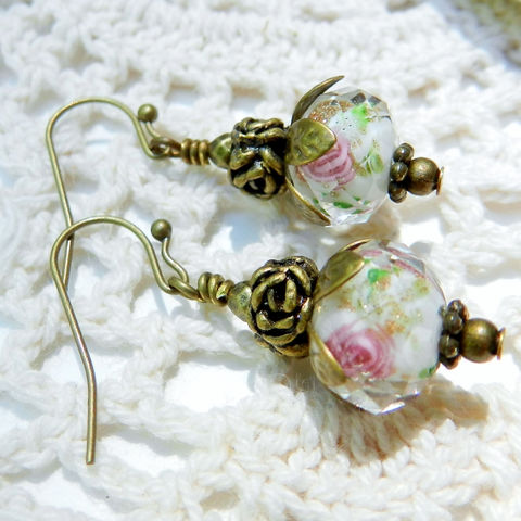 Glass,Rose,Earrings,Jewelry,rose_earrings,lampwork,faceted,pink_roses,glass_earrings,antique_brass,vintage_style,antique_earrings,gift_for_her,gift_for_mom,glass_roses,cut_glass,lampwork beads,beadcaps,earwires,headpins,crystals