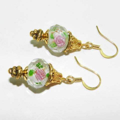 Rose,Earrings,,Lampwork,,Faceted,Glass,,Gold,Jewelry,Earrings,rose_earrings,lampwork,faceted,pink_roses,antique_copper,glass_earrings,lampwork beads,beadcaps,earwires,headpins,crystals