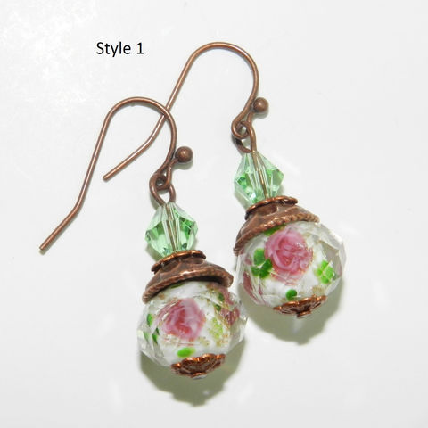 Rose,Earrings,~,Faceted,Lampwork~,Valentine,Jewelry,Mother's,Day,Gift,rose_earrings,lampwork,faceted,pink_roses,antique_copper,copper_earrings,glass_earrings,gift_for_her,gift_for_mom,glass_roses,lampwork beads,beadcaps,earwires,headpins,crystals