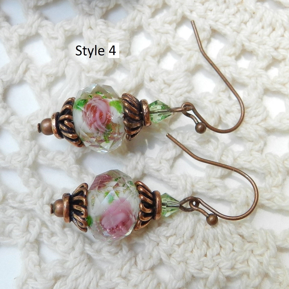 Rose Earrings ~ Faceted Lampwork~ Valentine Jewelry ~ Mother's Day Gift  - product images  of