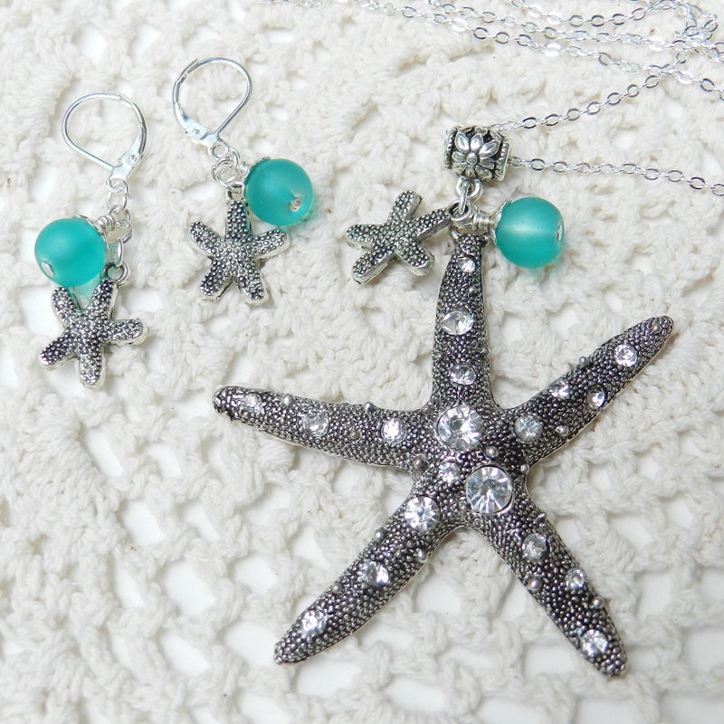 Starfish Necklace ~Beach Jewelry ~ Ocean Weddings - product images  of
