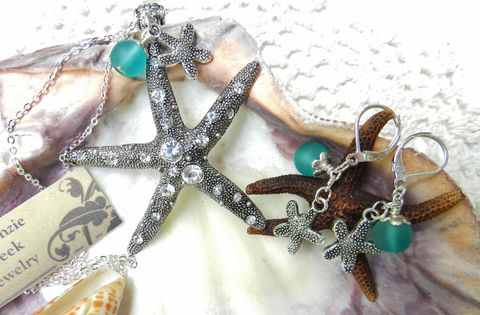 Starfish,Necklace,~Beach,Jewelry,~,Ocean,Weddings,ocean_theme,resort_jewelry,beach_wear,nautical_jewelry,Starfish_necklace,starfish_earrings,aqua_beach_glass,rhinestone_jewelry,vacation_jewelry,leverback_earrings,pendant_necklace,ocean_jewelry,chain,starfish pendant,starfish charms,earrings,bail