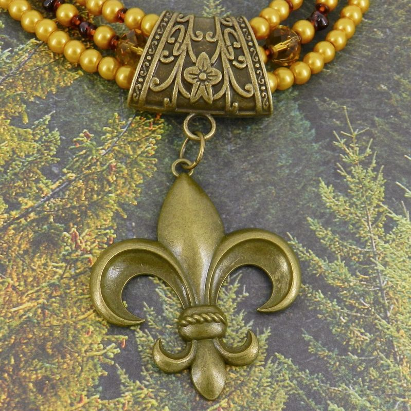 Fleur-de-Lis Scarf Slide in Antique Bronze, Scarf Jewelry, Scarf Charm, Scarf Accessory - product image