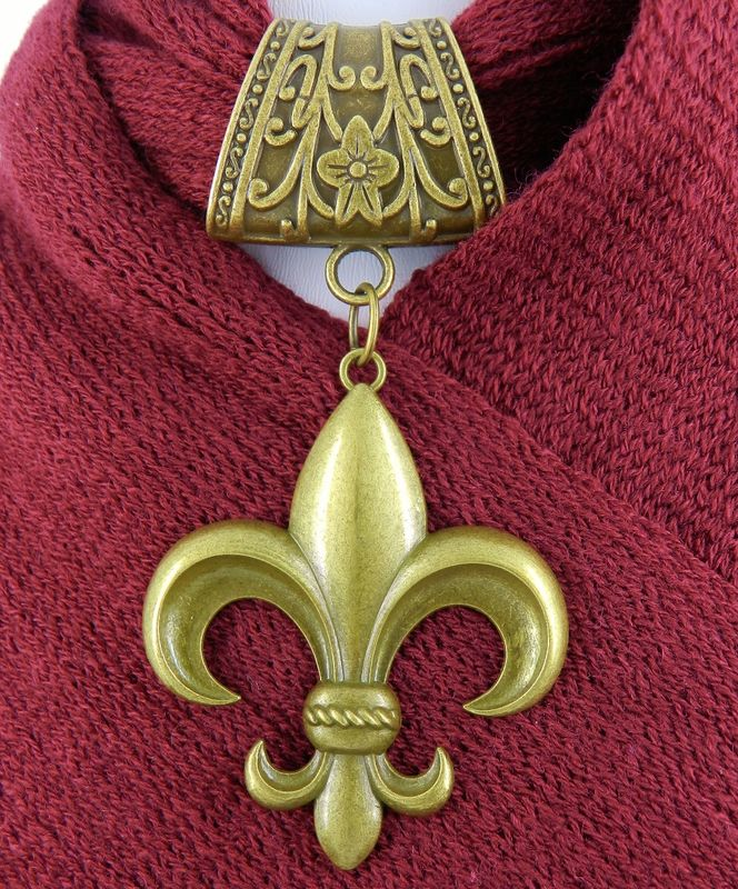 Fleur-de-Lis Scarf Slide in Antique Bronze, Scarf Jewelry, Scarf Charm, Scarf Accessory - product images  of