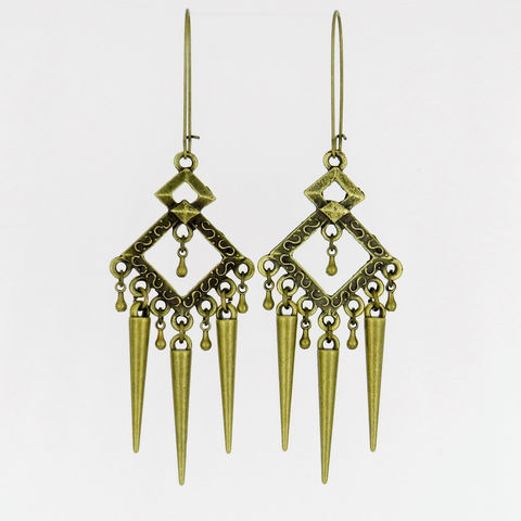 Long,Earrings,,Bronze,,Spikes,,One,of,a,KInd,Jewelry,Earrings,Antique_brass,metal_earrings,spike_jewelry,Long_earrings,spike_earrings,diamond_earrings,dangle_earrings,kidney_earwires,gift_for_her,diamond shaped connectors,spike beads,tiny drops,jumprings,kidney earwires