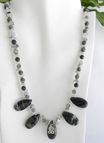 Black,and,Gray,Jewelry,,Picasso,Marble,Necklace,Earring,Set,Jewelry,gray_necklace,stone_necklace,tourmilated_quartz,oriental_beads,neutral_jewelry,black_necklace,short_necklace,necklace_earring_set,one_of_a_kind,picasso_marble,gray_marble,brio_necklace,clasp,silver colored alloy components,marble brios,tourmilated