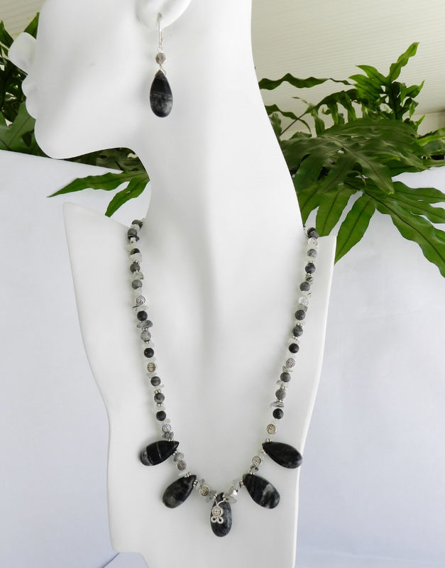 Black and Gray Jewelry, Picasso Marble Necklace and Earring Set  - product images  of