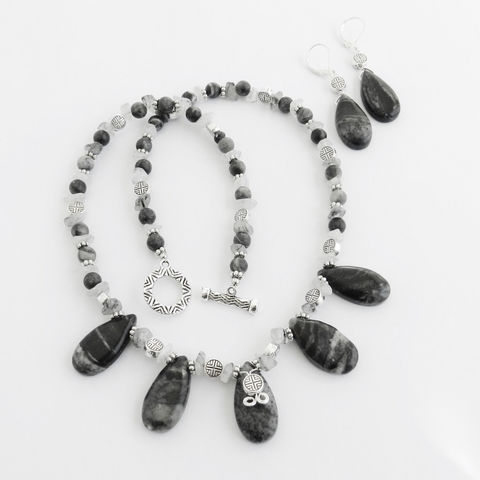Black/Gray,Stone,Necklace,and,Earrings,Jewelry,gray_necklace,stone_necklace,tourmilated_quartz,oriental_beads,neutral_jewelry,black_necklace,short_necklace,necklace_earring_set,one_of_a_kind,picasso_marble,gray_marble,brio_necklace,clasp,silver colored alloy components,marble brios,tourmilated