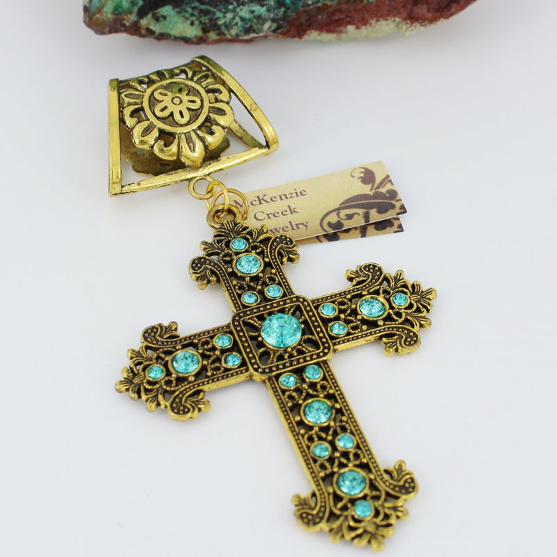 Rhinestone Scarf Jewelry ~ Aqua and Antique Gold Cross~ Scarf Accessory~ Scarf Slide - product images  of