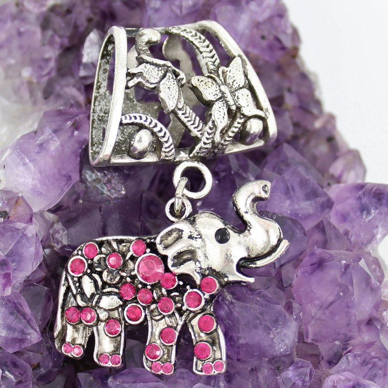 Elephant Scarf Jewelry with Hot Pink Rhinestones ~ Antique Silver Scarf Accessory - product images  of