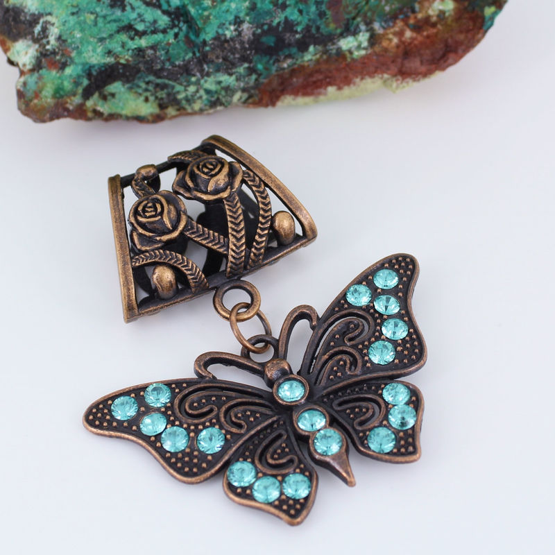 Butterfly Scarf Slide Aqua and Antique Copper - product images  of