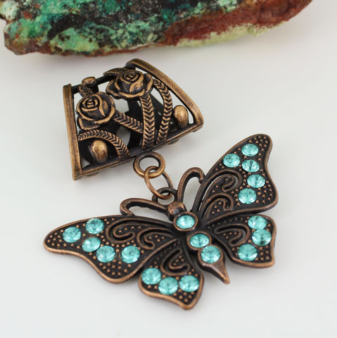 Butterfly,Scarf,Slide,Aqua,and,Antique,Copper,Accessories,scarf_slide,scarf_pendant,scarf_accessory,gift_for_woman,aqua_rhinestones,antique_copper,butterfly_pendant,rose_motif,crystal_pendant,copper_turquoise,scarf bail,butterfly pendant with aqua rhinestones