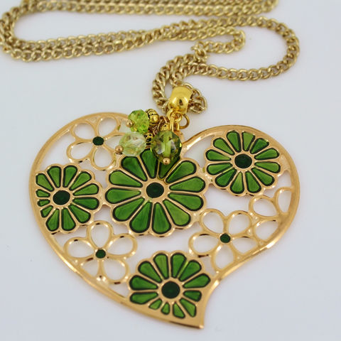 Heart,Necklace,,Flower,Hippie,Jewelry,Heart_necklace,heart_pendant,green_jewelry,flower_necklace,gold_and_green,hippie_necklace,cute_flowers,long_chain,St_Patricks_Day,Gift_for_girl,Teen_jewelry,Stamped enameled large heart pendant,crystal beads,pins,chain,bail