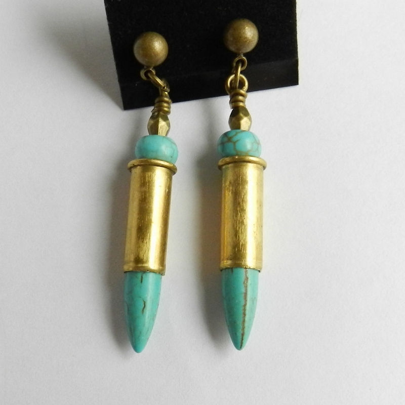 Spike Earrings, Bullet Jewelry, Turquoise Post Earrings - product images  of