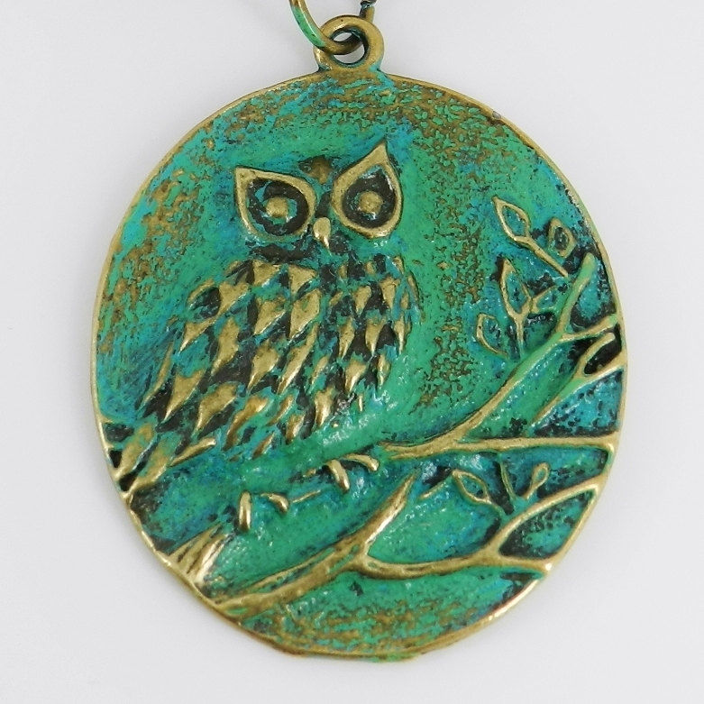 Owl Scarf Slide with Aqua Patina ~ Scarf Jewelry ~ Verdigris  - product images  of