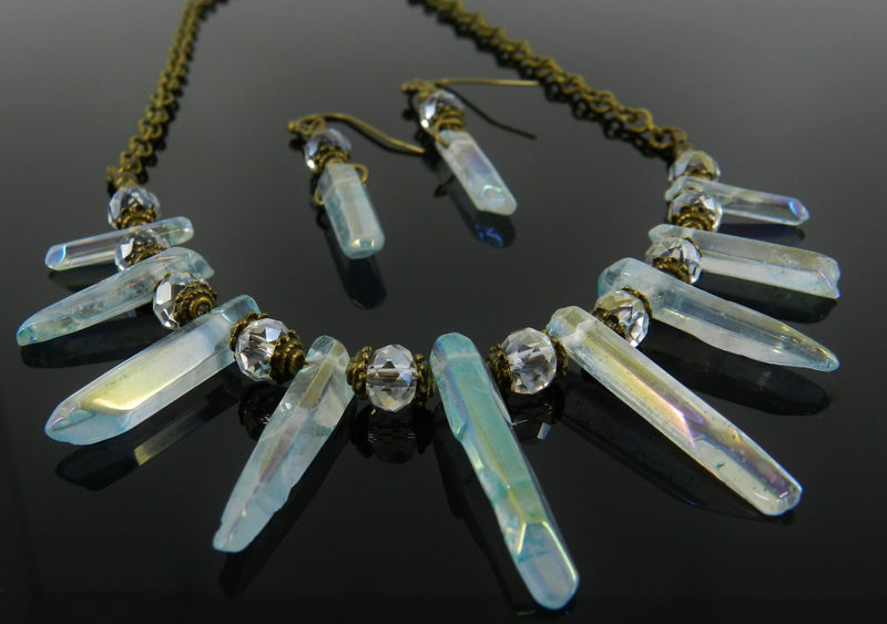 Aura Quartz Crystal Necklace and Earrings  - product images  of