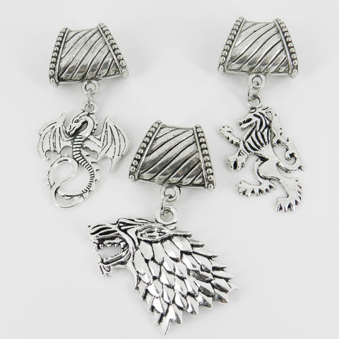 Scarf,Slide,Game,of,Thrones,~,DireWolf,Lion,Dragon,Accessories,scarf_charm,scarf_accessory,scarf_pendant,clothing_accessory,moon_scarf_charm,Lannister_Sigil,Lion_Scarf_Bail,Dire_Wolf_Sigil,Stark_Sigil,Targaryen_Dragon,Game_of_Thrones,Christmas_gift,bail,jump rings,Dire wolf charm,dragon charm,lion c
