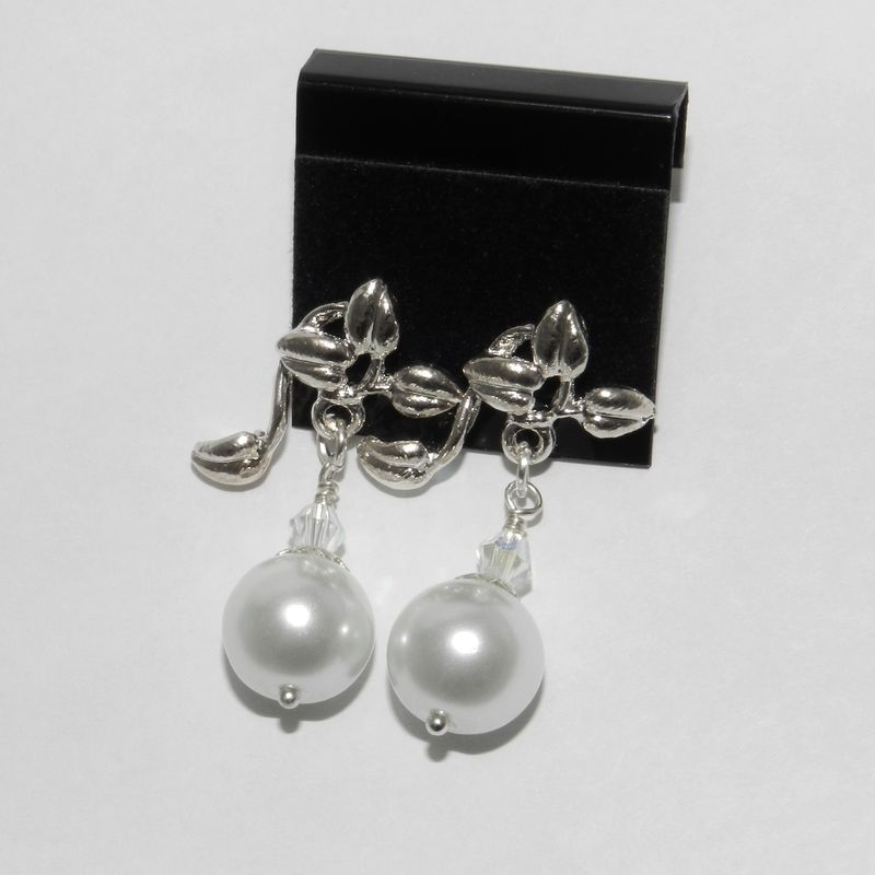 Pearl Earrings, Teal or White, with Leaf  - product images  of