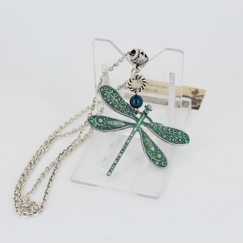 Dragonfly Pendant Necklace with Verdigris Patina - product images  of