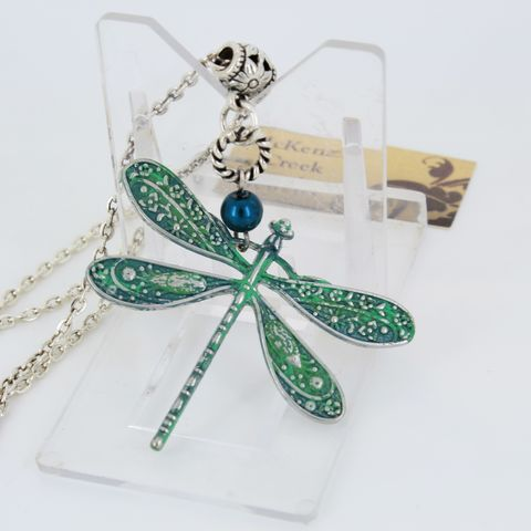 Dragonfly,Pendant,Necklace,with,Verdigris,Patina,Jewelry,dragonfly_necklace,pearl_necklace,pendant_on_chain,dainty_jewelry,gift_for_girl,gift_for_woman,Christmas_gift,Valentine's_day,verdigris_patina,Aqua_patina,Patinated_jewelry,Nature_lover_gift,chain,lobster clasp,dragonfly pendant,jump ring