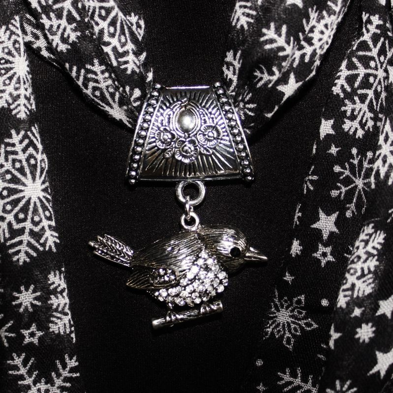 Rhinestone Bird Scarf Slide ~ Jewelry Pendant with Crystal - product images  of