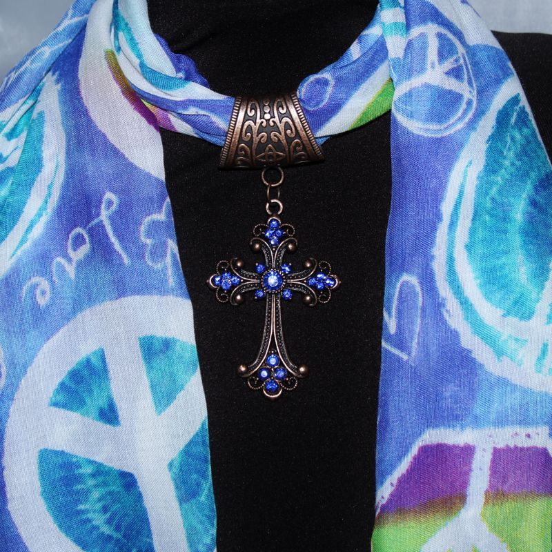 Scarf Slide with Blue or Red Crystal Cross  - product images  of