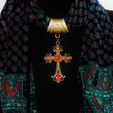 Scarf,Slide,with,Blue,or,Red,Crystal,Cross,Jewelry,scarf_charm,scarf_accessory,scarf_pendant,scarf_jewelry,crystal_cross,rhinestone_cross,cross_pendant,scarf_slide,scarf_bling,religious_jewelry,antique_brass,cobalt_blue,blue_crystal,antique brass Art Nouveau style bail,Cobalt blue crystal cross