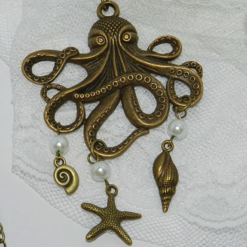 Octopus,Necklace,with,Sea,Charms,Jewelry,octopus_necklace,nautical,ocean,antique_brass,starfish, unisex_or_mens