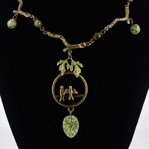 Bird,Necklace,with,Green,Serpentine,Weddings,Jewelry,one_of_a_kind,antique_brass,nature_jewelry,bird_necklace,tree_branches,green_serpentine,forest,woodsy,nature_lover,bird_lover,Stone,Brass,Bronze