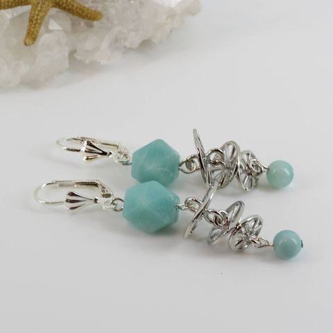 Blue,Amazonite,Earrings,Jewelry,dangle_earrings,gift_for_her,Amazonite_earrings,silver_leverbacks,unusual_jewelry,blue-green,aqua_blue,one_of_a_kind,newest_trends,sophisticated,classy_earrings,leverback earwires,amazonite beads,silver connectors