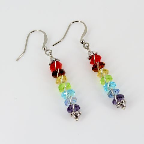 Chakra,Crystal,Earrings,chakra earrings, faceted rainbow crystal earrings, fun jewelry, raki, crystal healing, spiritual