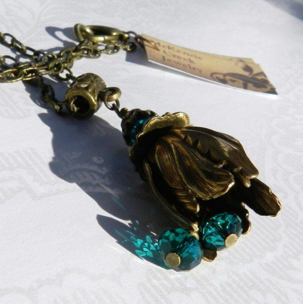Retro Jewelry, Green Necklace, Vintaj, Tulip Pendant - product images  of