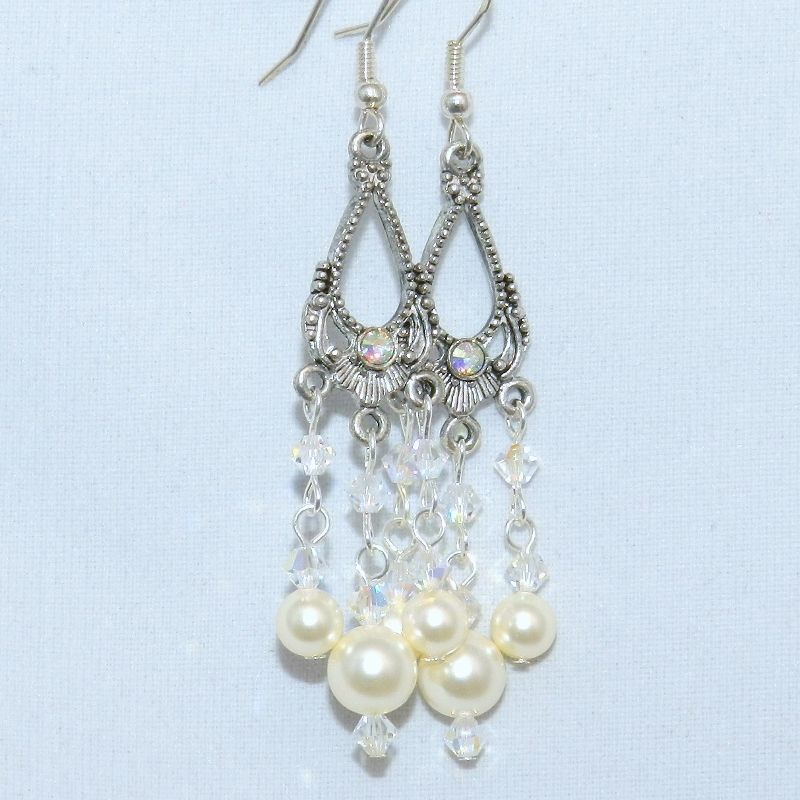 Wedding Earrings, Bridal Jewelry, Swarovski Pearls, Chandelier Earrings - product images  of