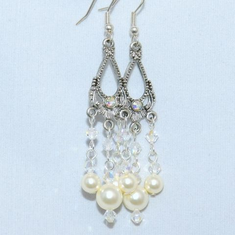Wedding,Earrings,with,Swarovski,Pearls,and,Crystals, Chandelier, chandelier earrings, Swarovski pearls,pewter,dangle,crystal,wedding_earrings,bridal_earrings, wedding jewelry,white pearl earrings,mckenzie creek,holiday earrings