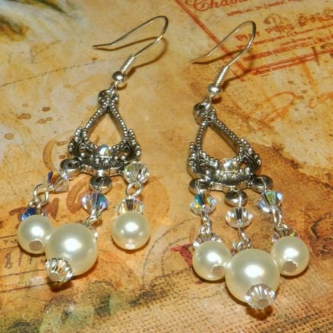 Swarovski,Wedding,Earrings, Chandelier, chandelier earrings, Swarovski pearls,pewter,dangle,crystal,wedding_earrings,bridal_earrings, wedding jewelry,white pearl earrings,mckenzie creek,holiday earrings
