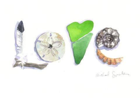 LOVE,at,the,Beach,,Sea,Treasures,Print,Art,Painting,Watercolor,beach_art,LOVE_art,nj_shore,word_art,inspirational_art,watercolor_heart,beach_watercolor,acleverspark,restore,jersey_girl,Heart_Watercolor,SURF,watercolor,paper