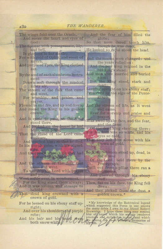 Sunny Window Watercolor Printed on Antique Book Page - product image