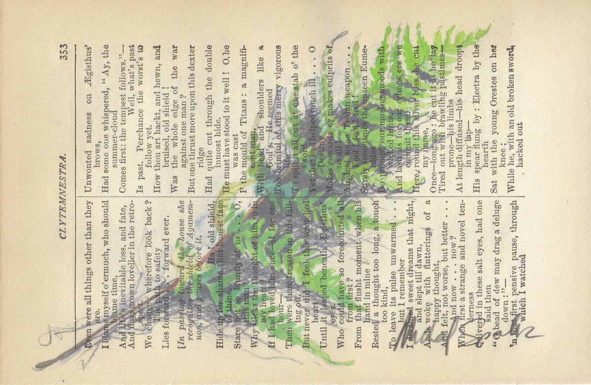 botanicalfernwatercolorprintedonantiquebookpage - Book Page Print