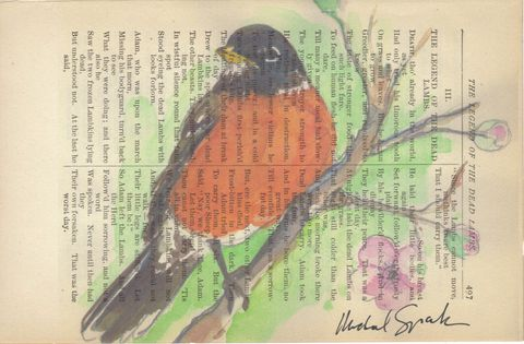 Springtime,Robin,Watercolor,Printed,on,Antique,Book,Page,Art,Print,Mixed_Media,bird,robin,spring,watercolor,poetry,nature,antique_book_page,home_decor,signed_print,recycled,etsynj_team,team_upcyclers,song_bird,antique_poetry_page,watercolor_print