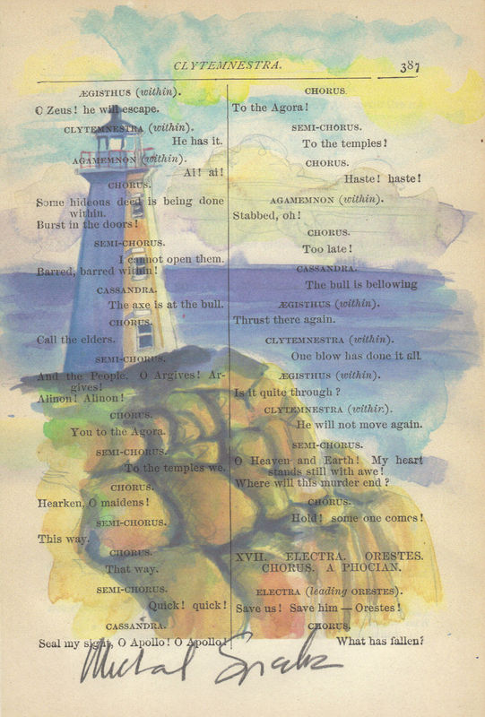 Lighthouse Watercolor Printed on Antique Book Page - product image