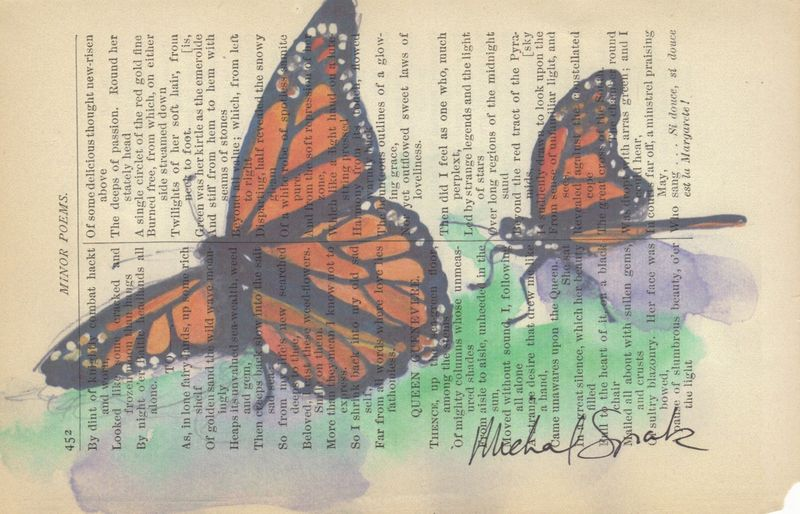 Monarch Butterfly Watercolor Printed on Antique Book Page - product image