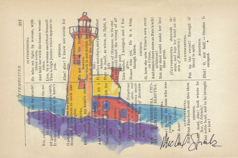 Bright Lighthouse Watercolor Printed on Antique Book Page - product image