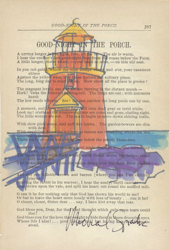 Funky Bright Lighthouse printed on Antique Book Page - product image