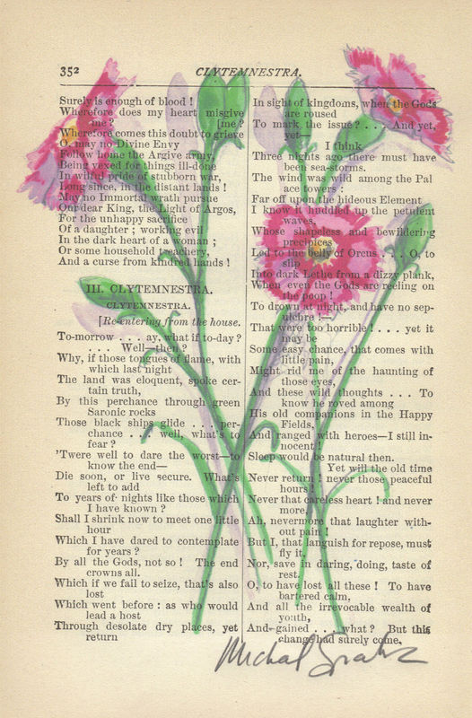 Watercolor Pink Flowers Printed on Antique Book Page, Free Shipping in US - product image